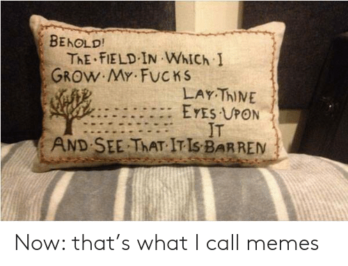 Memes, Grow, and Call: BEHOLD!  ThE FIELD IN WhICh I  GROW MY FUCKS  LAY ThINE  EYES UPON  IT  SEE THAT IT IS BARREN  AND Now: that's what I call memes