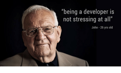 """john: """"being a developer is  not stressing at all""""  John - 26 yrs old"""