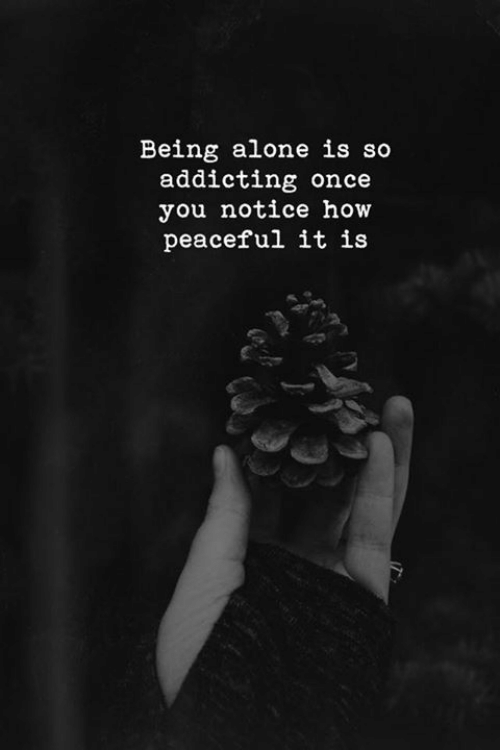 being alone: Being alone is so  addicting once  you notice how  peaceful it is