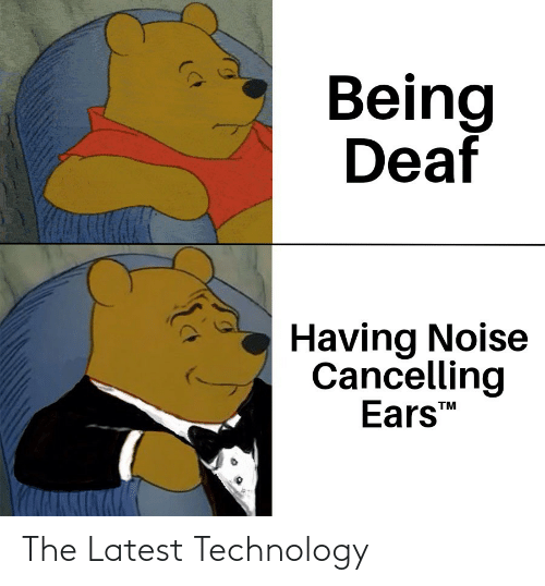 Having: Being  Deaf  Having Noise  Cancelling  Ears  TM The Latest Technology