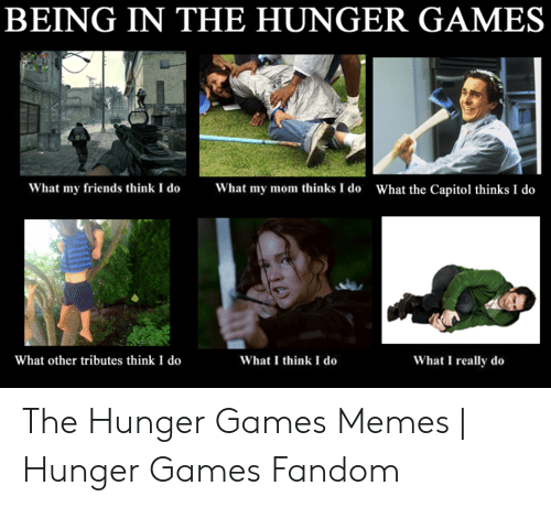 Hunger Games Meme: BEING IN THE HUNGER GAMES  What my friends think I doWhat my mom thinks I do  What the Capitol thinks I do  What other tributes think I do  What I really do  What I think I do The Hunger Games Memes | Hunger Games Fandom