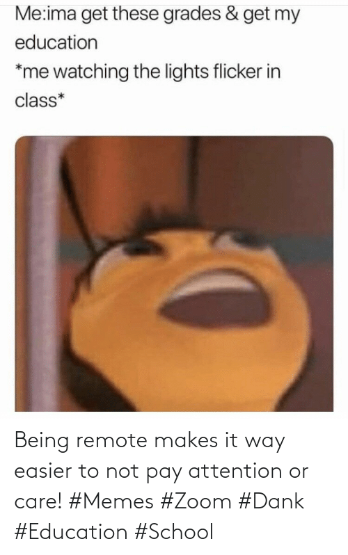 School: Being remote makes it way easier to not pay attention or care! #Memes #Zoom #Dank #Education #School