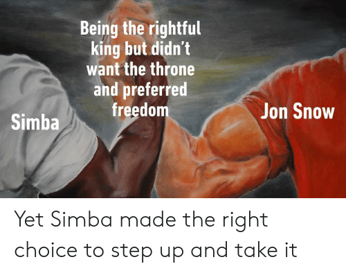 Dank, Jon Snow, and Snow: Being the rightful  king but didn't  want the throne  and preferred  freedom  Jon Snow  Simba Yet Simba made the right choice to step up and take it