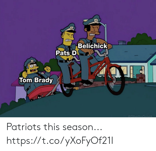 Football, Nfl, and Patriotic: Belichick  Pats D  Tom Brady  @GhettoGronk Patriots this season... https://t.co/yXoFyOf21I
