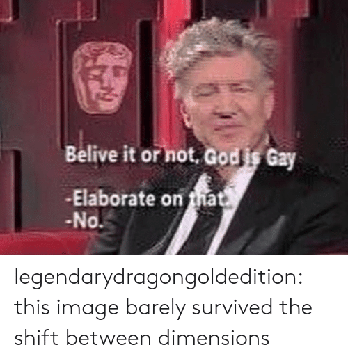 Target, Tumblr, and Blog: Belive it or hot, Godis Gay  -Elaborate on ma  No legendarydragongoldedition: this image barely survived the shift between dimensions