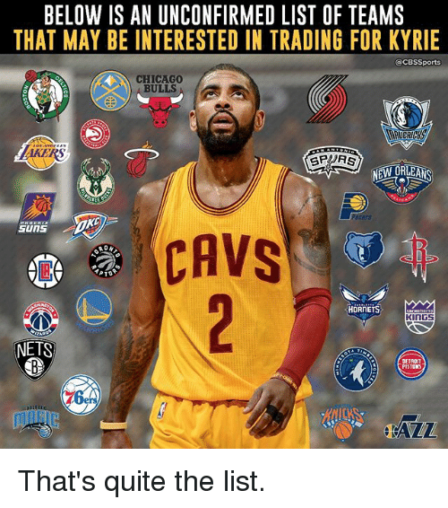 Chicago Bulls: BELOW IS AN UNCONFIRMED LIST OF TEAMS  THAT MAY BE INTERESTED IN TRADING FOR KYRIE  CBSSports  CHICAGO  BULLS  GPRS  NEW ORLEANS  CAVS  PTO  HORNETS  KINGS  NETS  DETROIT  PISTONS  76 That's quite the list.