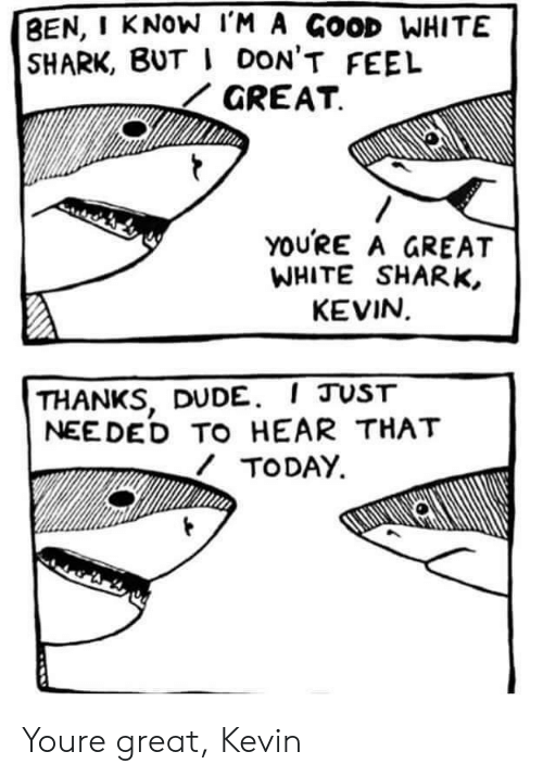 Dude, Shark, and Good: BEN, I KNOW l'M A GOOD WHITE  SHARK, BUT I DON'T FEEL  GREAT  YOURE A GREAT  WHITE SHARK,  KEVIN  THANKS, DUDE. I JUST  NEE DED TO HEAR THAT  TODAY Youre great, Kevin