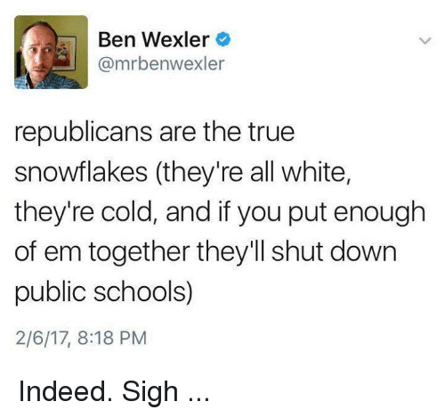 indee: Ben Wexler  @mrbenwexler  republicans are the true  snowflakes (they're all white,  they're cold, and if you put enough  of em together they'll shut down  public schools)  2/6/17, 8:18 PM Indeed. Sigh ...