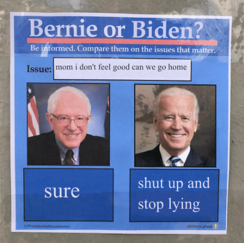 Shut Up: Bernie or Biden?  Be informed. Compare them on the issues that matter  Issue: mom i don't feel good can we go home  shut up and  Sure  stop lying  IH/ProsidentialRaceMemes  obvious plant