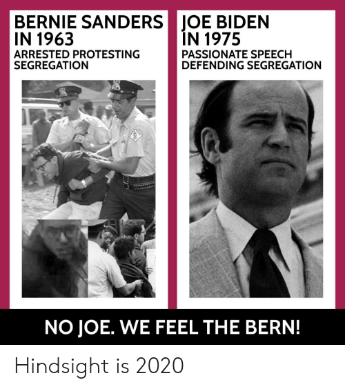 Bernie Sanders, Joe Biden, and Passionate: BERNIE SANDERS 1 JOE BIDEN  IN 1963  ARRESTED PROTESTING  SEGREGATION  IN 1975  PASSIONATE SPEECH  DEFENDING SEGREGATION  NO JOE. WE FEEL THE BERN! Hindsight is 2020