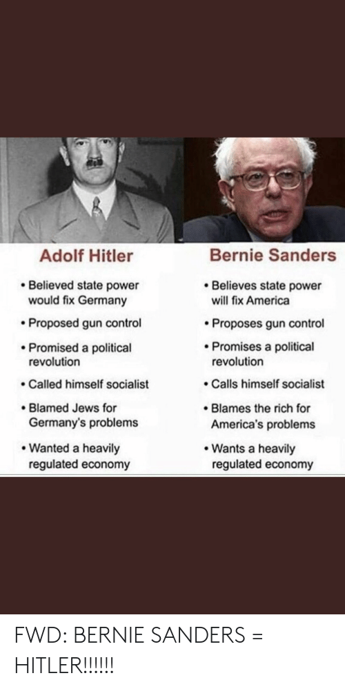 America, Bernie Sanders, and Control: Bernie Sanders  Adolf Hitler  Believes state power  will fix America  Believed state power  would fix Germany  Proposed gun control  Proposes gun control  Promises a political  Promised a political  revolution  revolution  Calls himself socialist  Called himself socialist  Blames the rich for  America's problems  Blamed Jews for  Germany's problems  Wanted a heavily  regulated economy  Wants a heavily  regulated economy FWD: BERNIE SANDERS = HITLER!!!!!!