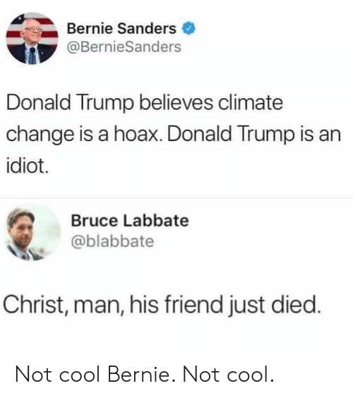 Bernie Sanders, Donald Trump, and Reddit: Bernie Sanders  @BernieSanders  Donald Trump believes climate  change is a hoax. Donald Trump is an  idiot.  Bruce Labbate  @blabbate  Christ, man, his friend just died. Not cool Bernie. Not cool.