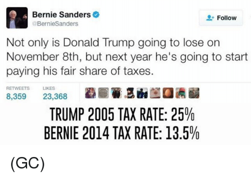 Bernie Sanders, Donald Trump, and Memes: Bernie Sanders  Follow  Bernie Sanders  Not only is Donald Trump going to lose on  November 8th, but next year he's going to start  paying his fair share of taxes.  RETWEETS LIKES  8,359  23,368  TRUMP 2005 TAX RATE: 25%  BERNIE 2014 TAX RATE: 13.5% (GC)