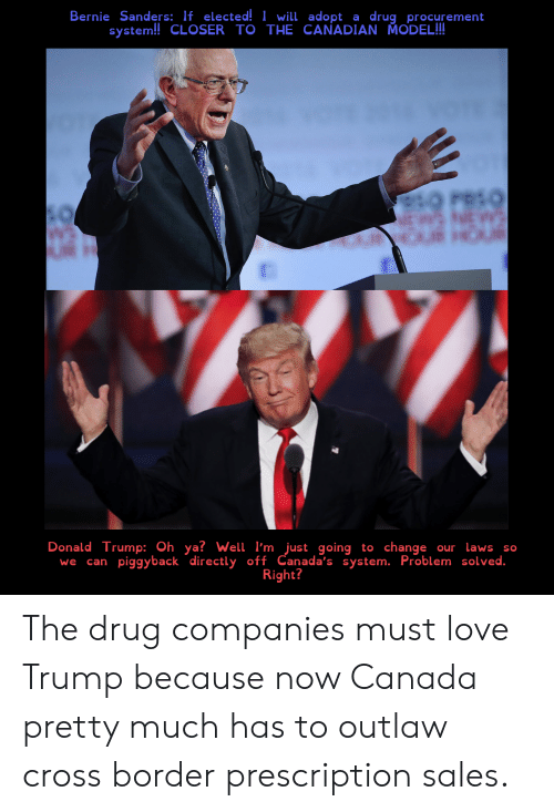 Bernie Sanders, Donald Trump, and Love: Bernie Sanders: If elected! I will adopt  system!! CLOSER TO THE CANADIAN MODEL!!  drug procurement  a  PRSO  Donald Trump: Oh ya? Well I'm just going to change  our Lawsso  piggyback directly off Canada's system. Problem solved.  Right?  we  can The drug companies must love Trump because now Canada pretty much has to outlaw cross border prescription sales.