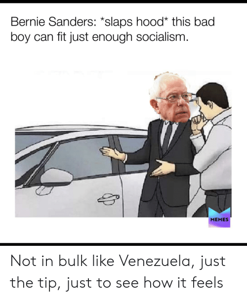 Bad, Bernie Sanders, and Memes: Bernie Sanders: *slaps hood* this bad  boy can fit just enough socialism.  MEMES Not in bulk like Venezuela, just the tip, just to see how it feels
