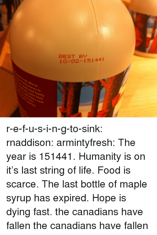 Family, Food, and Life: BEST B  10 0211441  to  dicated family  stoke thei  vaporators each  mily farms in r-e-f-u-s-i-n-g-to-sink:  rnaddison:  armintyfresh:  The year is 151441. Humanity is on it's last string of life. Food is scarce. The last bottle of maple syrup has expired. Hope is dying fast.  the canadians have fallen  the canadians have fallen