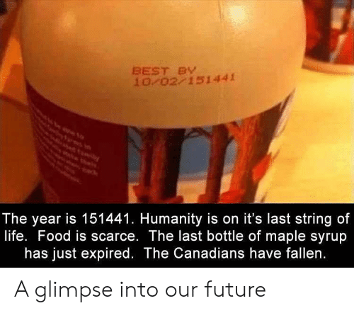 Food, Future, and Life: BEST BY  10/02/151441  The year is 151441. Humanity is on it's last string of  life. Food is scarce. The last bottle of maple syrup  has just expired. The Canadians have fallen. A glimpse into our future