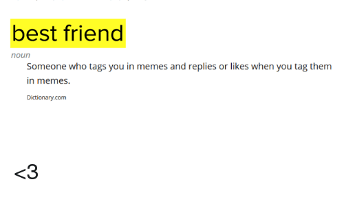 Best Friend, Memes, and Best: best friend  noun  Someone who tags you in memes and replies or likes when you tag them  in memes.  Dictionary.com <3