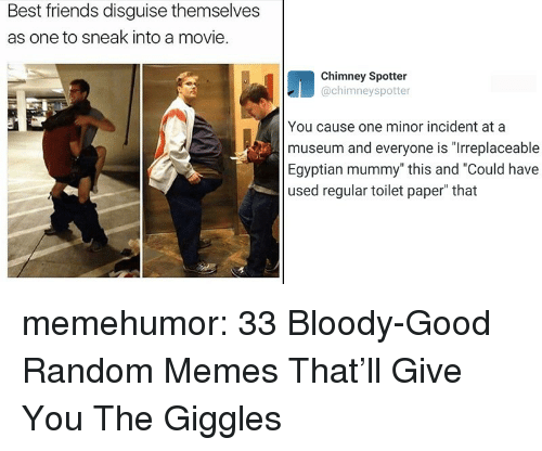 """Friends, Memes, and Tumblr: Best friends disguise themselves  as one to sneak into a movie.  Chimney Spotter  @chimneyspotter  You cause one minor incident at a  museum and everyone is """"Irreplaceable  Egyptian mummy"""" this and """"Could have  used regular toilet paper"""" that memehumor:  33 Bloody-Good Random Memes That'll Give You The Giggles"""