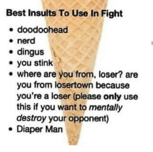 stink: Best Insults To Use In Fight  e doodoohead  * nerd  e dingus  you stink  e where are you from, loser? are  you from losertown because  you're a loser (please only use  this if you want to mentally  destroy your opponent)  e Diaper Man