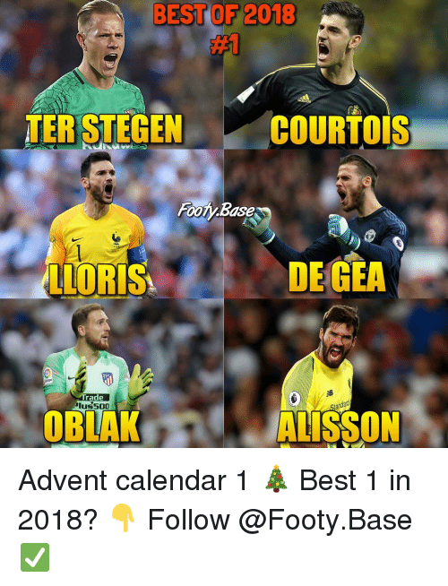 Memes, Best, and Calendar: BEST OF 2018  #1  TER STEGEN  COURTOIS  Fooly Base  LLORIS  DE GEA  Trade  lus500  多  andad  OBLAK  ALISSON Advent calendar 1 🎄 Best 1 in 2018? 👇 Follow @Footy.Base ✅