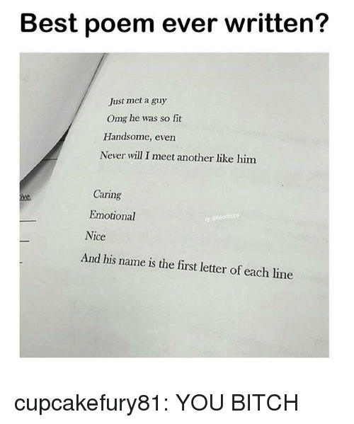 Bitch, Omg, and Tumblr: Best poem ever written?  Just met a guy  Omg he was so fit  Handsome, even  Never will I meet another like him  Caring  Emotional  Nice  ig  And his name is the first letter of each line cupcakefury81: YOU BITCH