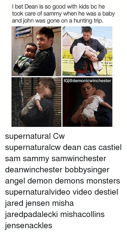 Demonizer: bet Dean is so good with kids bc he  took care of sammy when he was a baby  and john was gone on a hunting trip.  IG@demonicwinchester supernatural Cw supernaturalcw dean cas castiel sam sammy samwinchester deanwinchester bobbysinger angel demon demons monsters supernaturalvideo video destiel jared jensen misha jaredpadalecki mishacollins jensenackles