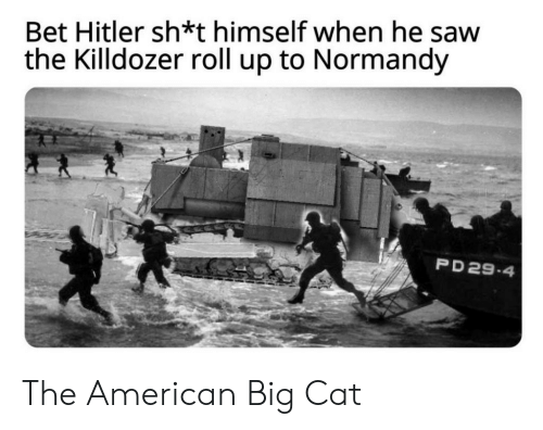 Saw, American, and Hitler: Bet Hitler sh*t himself when he saw  the Killdozer roll up to Normandy  PD 29-4 The American Big Cat