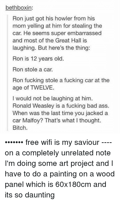 Memes, Paint, and Wifi: bethboxin:  Ron just got his howler from his  mom yelling at him for stealing the  car. He seems super embarrassed  and most of the Great Hall is  laughing. But here's the thing:  Ron is 12 years old  Ron stole a car.  Ron fucking stole a fucking car at the  age of TWEIVE.  I would not be laughing at him.  Ronald Weasley is a fucking bad ass.  When was the last time you jacked a  car Malfoy? That's what I thought.  Bitch. ••••••• free wifi is my saviour ---- on a completely unrelated note I'm doing some art project and I have to do a painting on a wood panel which is 60x180cm and its so daunting