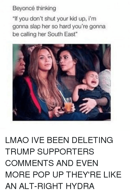 "Trump Support: Beyoncé thinking  ""If you don't shut your kid up, i'm  gonna slap her so hard you're gonna  be calling her South East"" LMAO IVE BEEN DELETING TRUMP SUPPORTERS COMMENTS AND EVEN MORE POP UP THEY'RE LIKE AN ALT-RIGHT HYDRA"