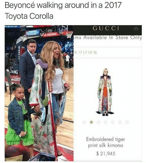 Beyonce, Fam, and Gucci: Beyoncé walking around in a 2017  Toyota Corolla  GUCCI  State Fam  ms Available In Store Only  K 17 17 OF 8)  DING  Embroidered tiger  print silk kimono  $21,945
