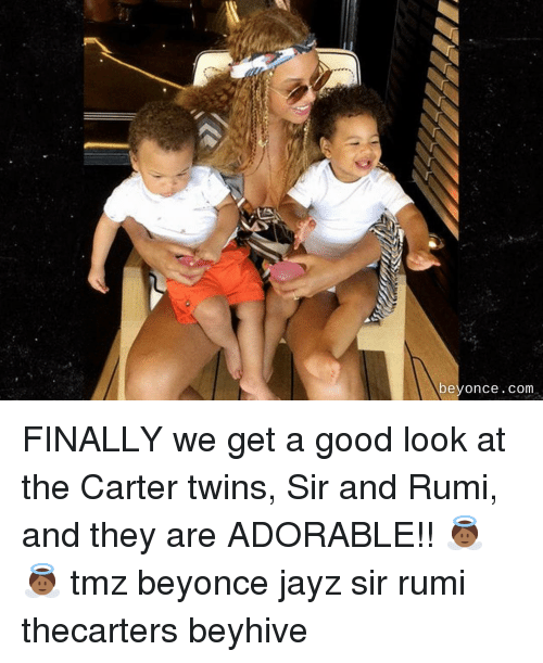 beyhive: beyonce.com FINALLY we get a good look at the Carter twins, Sir and Rumi, and they are ADORABLE!! 👼🏾👼🏾 tmz beyonce jayz sir rumi thecarters beyhive