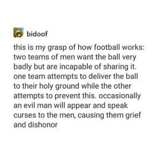 Bidoofed: bidoof  this is my grasp of how football works:  two teams of men want the ball very  badly but are incapable of sharing it.  one team attempts to deliver the ball  to their holy ground while the other  attempts to prevent this. occasionally  an evil man will appear and speak  curses to the men, causing them grief  and dishonor