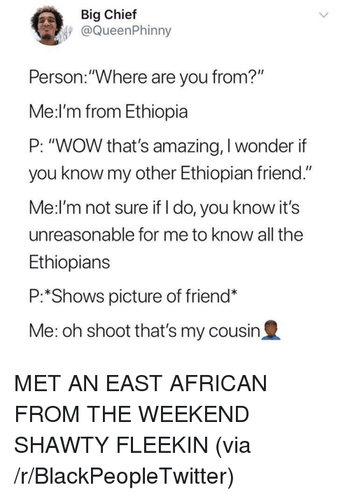 "Thats Amazing: Big Chief  @QueenPhinny  Person.:""Where are you from?""  Me:l'm from Ethiopia  P: ""WOW that's amazing, I wonder if  you know my other Ethiopian friend.""  Me:l'm not sure if I do, you know it's  unreasonable for me to know all the  Ethiopians  P:*Shows picture of friend*  Me: oh shoot that's my cousin2 <p>MET AN EAST AFRICAN FROM THE WEEKEND SHAWTY FLEEKIN (via /r/BlackPeopleTwitter)</p>"
