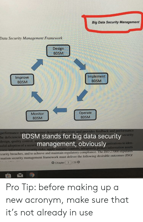 Control, Acronym, and Information: Big Data Security Management  Data Security Management Framework  Design  BDSM  Improve  BDSM  Implement  BDSM  Monitor  BDSM  Operate  BDSM  or  ainst designed obiectives and provides  performance in  he deficiencie  design, quality control  ssful adoption of a securit  BDSM stands for big data security  management, obviously  urity  anizations to iden  ble controls, adequately proteet information assets  see  improvem  curity breaches, and to achieve and maintain regulatory compliarn  mation security management framework must deliver the following desirable outcomes (ISOr  G Chapter 3 20 Pro Tip: before making up a new acronym, make sure that it's not already in use