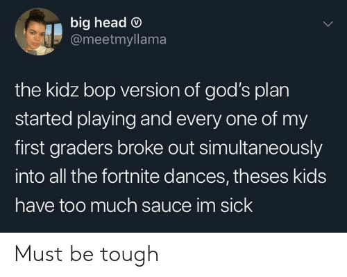 Dances: big head O  @meetmyllama  the kidz bop version of god's plan  started playing and every one of my  first graders broke out simultaneously  into all the fortnite dances, theses kids  have too much sauce im sick Must be tough