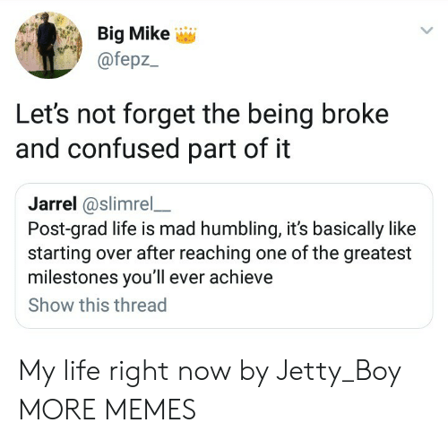 humbling: Big Mike  @fepz  Let's not forget the being broke  and confused part of it  Jarrel@slimrel_  Post-grad life is mad humbling, it's basically like  starting over after reaching one of the greatest  milestones you'll ever achieve  Show this thread My life right now by Jetty_Boy MORE MEMES