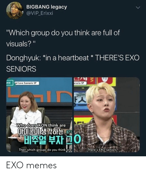"""seniors: BIGBANG legacy  1 @VIP.Erixxi  Which group do you think are full of  visuals?  Donghyuk: 치n a heartbeat"""" THERE'S EXO  SENIORS  に,リミ  enario SP  et Love Scenorio SP  Whodo  esiKON think are  010120虺칵하는  Ol  비주얼 부자ROI :  Then which groupsdo you think [re  'There's EX  seniors,·  a EXO memes"""
