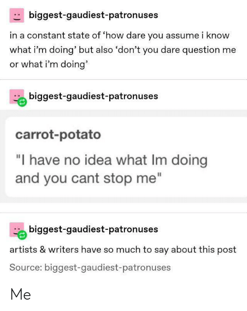 "carrot: biggest-gaudiest-patronuses  in a constant state of 'how dare you assume i know  what i'm doing' but also 'don't you dare question me  or what i'm doing'  biggest-gaudiest-patronuses  carrot-potato  ""I have no idea what Im doing  and you cant stop me""  biggest-gaudiest-patronuses  artists & writers have so much to say about this post  Source: biggest-gaudiest-patronuses Me"