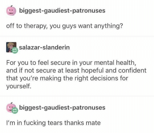 confident: biggest-gaudiest- patronuses  off to therapy, you guys want anything?  salazar-slanderin  For you to feel secure in your mental health,  and if not secure at least hopeful and confident  that you're making the right decisions for  yourself.  biggest-gaudiest-patronuses  I'm in fucking tears thanks mate