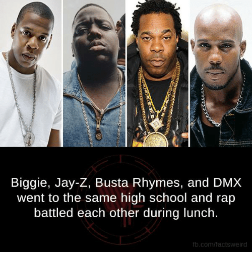 Busta Rhymes: Biggie, Jay-Z, Busta Rhymes, and DMX  went to the same high school and rap  battled each other during lunch.  fb.com/facts Weird