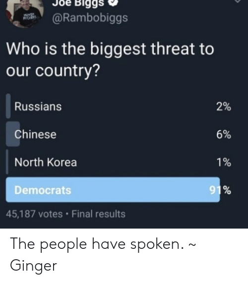 Memes, North Korea, and Chinese: Biggs  @Rambobiggs  ROES  Who is the biggest threat to  our country?  Russians  2%  Chinese  6%  North Korea  1%  91%  Democrats  45,187 votes Final results The people have spoken. ~ Ginger