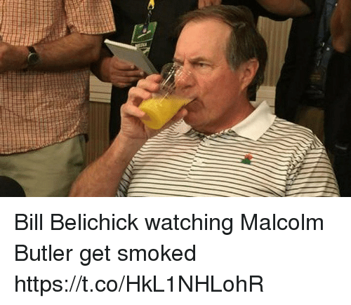 Bill Belichick, Memes, and Belichick: Bill Belichick watching Malcolm Butler get smoked https://t.co/HkL1NHLohR