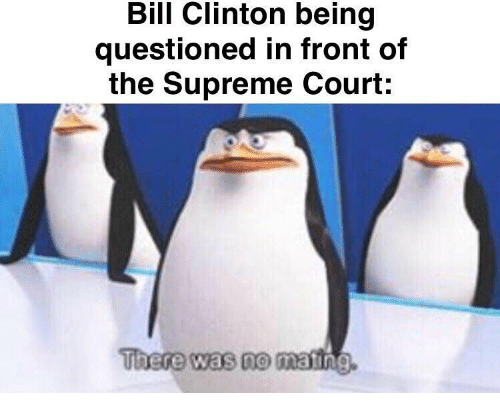 Supreme Court: Bill Clinton being  questioned in front of  the Supreme Court:  There was no mating