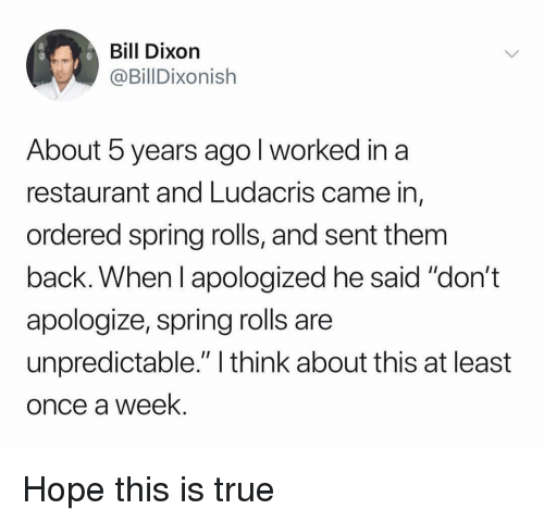 """Funny, Ludacris, and True: Bill Dixoin  @BillDixonish  About 5 years ago l worked in a  restaurant and Ludacris came in,  ordered spring rolls, and sent them  back. When l apologized he said """"don't  apologize, spring rolls are  unpredictable."""" I think about this at least  once a week Hope this is true"""