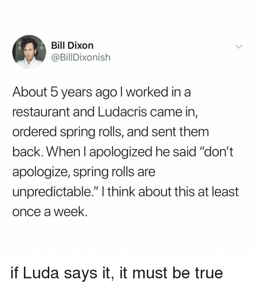 """ludacris: Bill Dixorn  @BillDixonish  About 5 years ago l worked in a  restaurant and Ludacris came in,  ordered spring rolls, and sent them  back. When I apologized he said """"don't  apologize, spring rolls are  unpredictable."""" I think about this at least  once a week. if Luda says it, it must be true"""