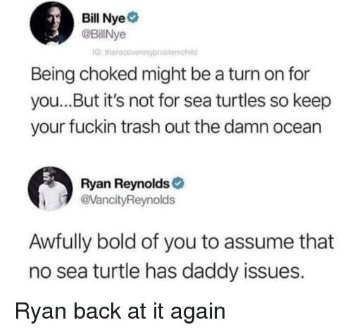 Daddy Issues: Bill Nye  @BillNye  IG, therecovetingproblemchild  Being choked might be a turn on for  you...But it's not for sea turtles so keep  your fuckin trash out the damn ocean  Ryan Reynolds  VancityReynolds  Awfully bold of you to assume that  no sea turtle has daddy issues. Ryan back at it again