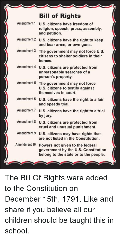 bill of rights and me The enumeration in the constitution, of certain rights, shall not be construed to deny or disparage others retained by the people photograph of the bill of rights.