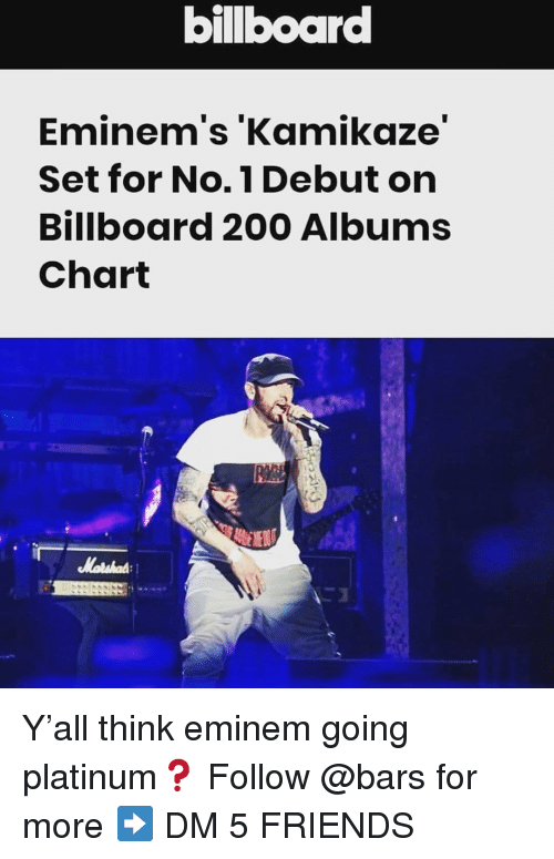 Bailey Jay, Billboard, and Eminem: billboard  Eminem's 'Kamikaze  Set for No.1 Debut orn  Billboard 200 Albums  Chart Y'all think eminem going platinum❓ Follow @bars for more ➡️ DM 5 FRIENDS