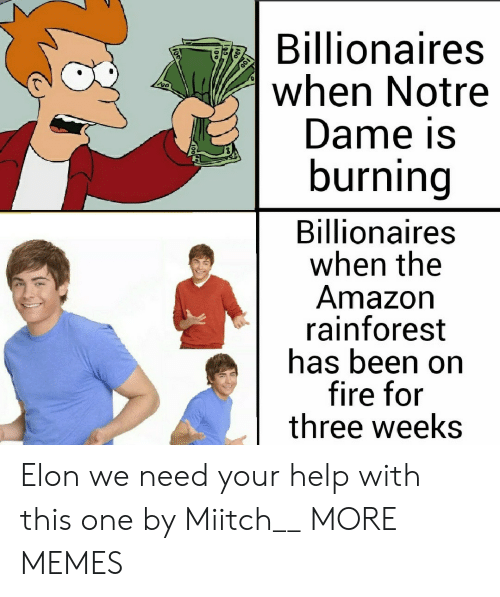 for-three: Billionaires  when Notre  Dame is  burning  Billionaires  when the  Amazon  rainforest  has been on  fire for  three weeks Elon we need your help with this one by Miitch__ MORE MEMES